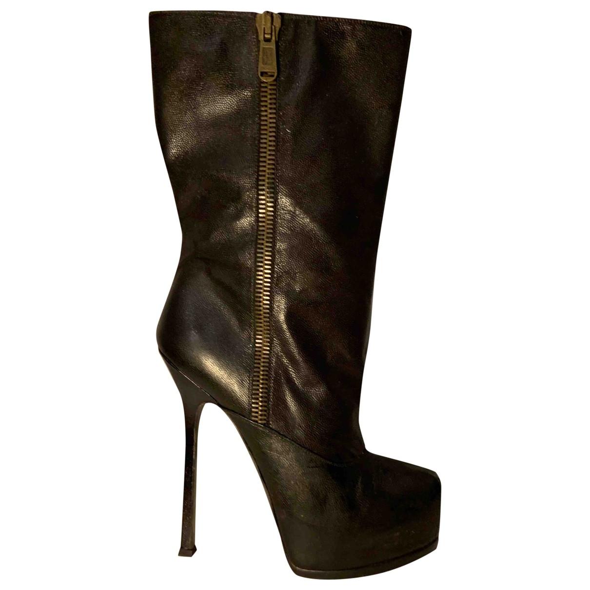 Yves Saint Laurent - Bottes   pour femme en cuir - marron