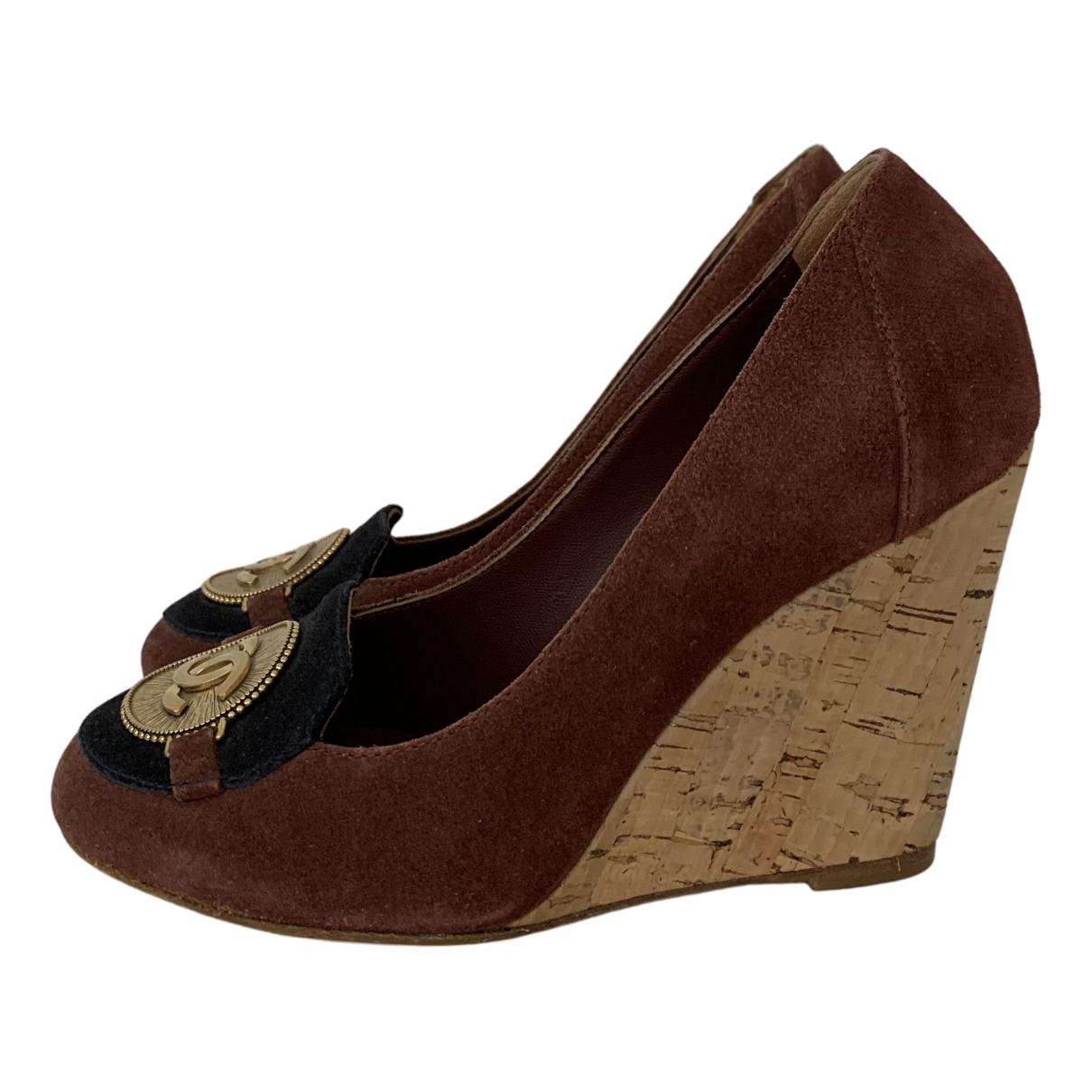 Chanel N Brown Suede Heels for Women 36.5 EU