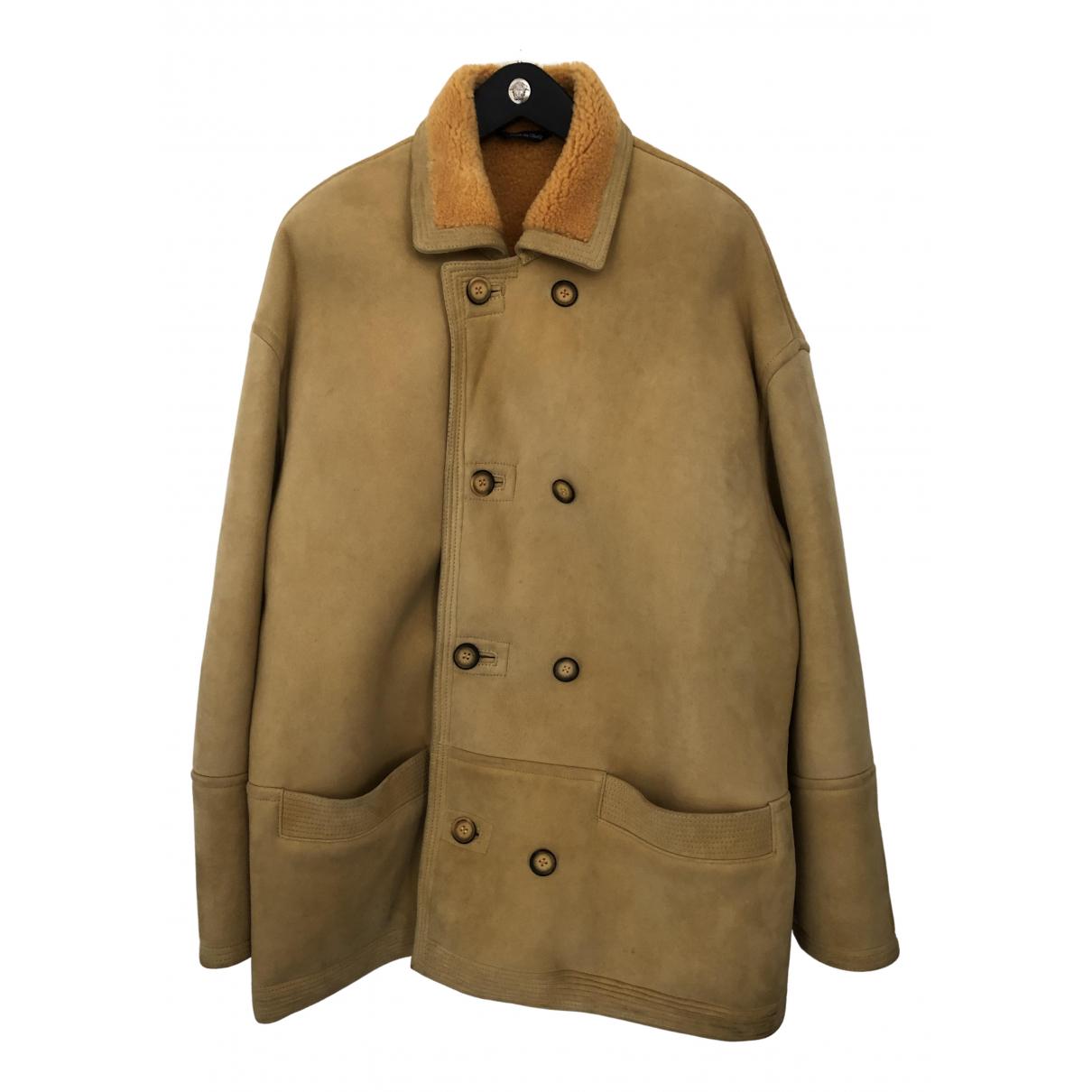Versus - Manteau   pour homme en mouton - beige