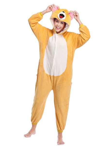 Milanoo Disfraz Halloween Pijama Kigurumi Mono Onesie Mickey Mouse Adulto Franela Naranja Facil Inodoro Mono Disfraces Kigurumi Carnaval Halloween