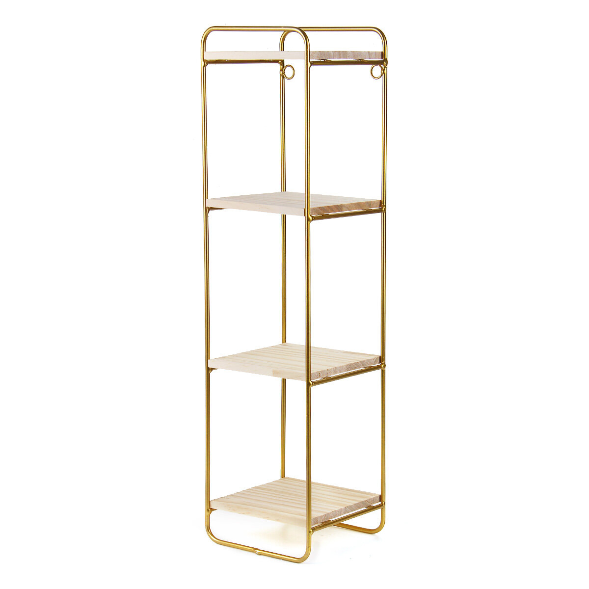 4 Tiers Wall Storage Shelves Metal Wood Modern Bookshelf Storage Rack Desktop Orangizer