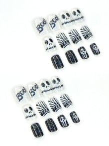 24pcs Halloween False Nail & 1pc Nail File & 1sheet Tape
