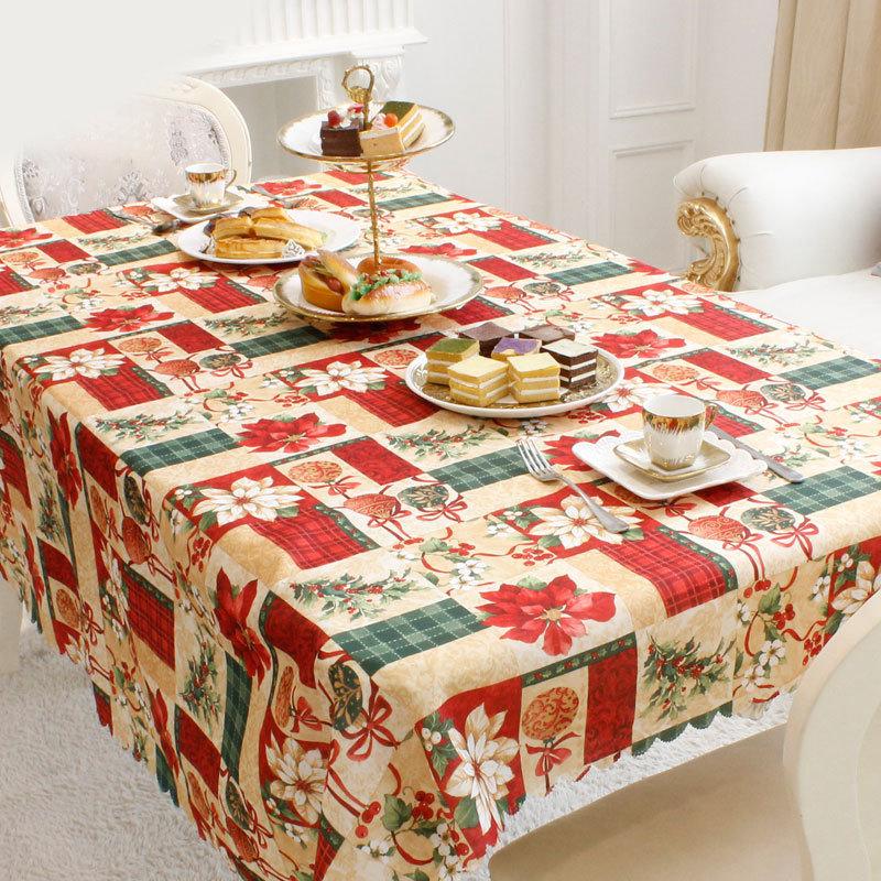 150x180cm Classical Christmas Santa Elk Rectangular Tablecloth Home Dinning Table Christmas Decor
