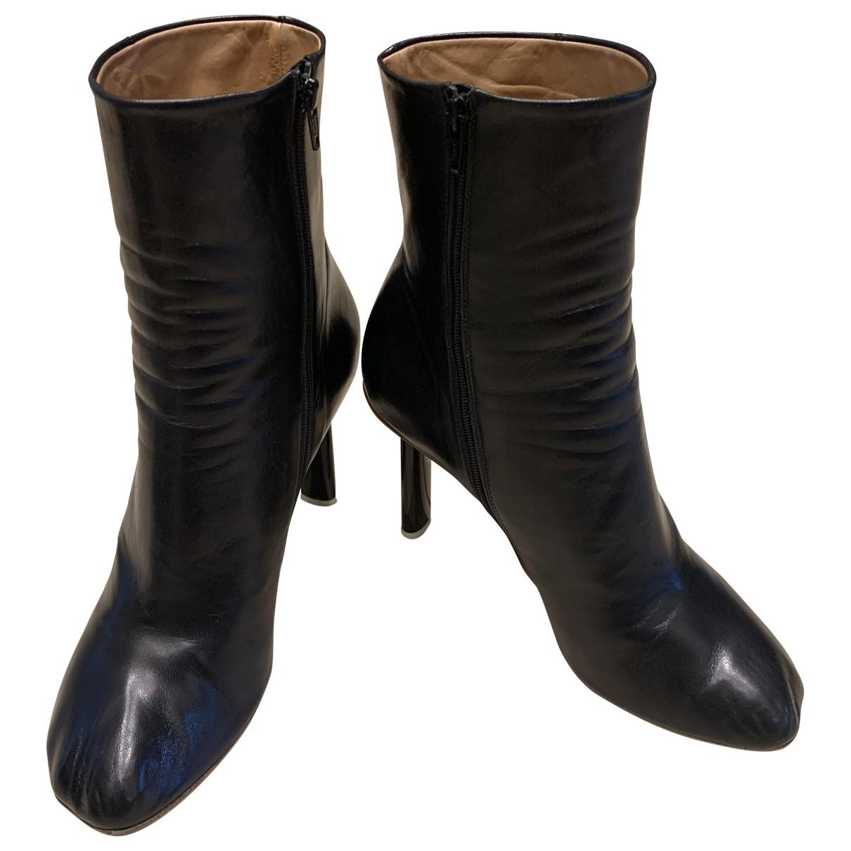 Vetements - Bottes   pour femme en cuir - noir