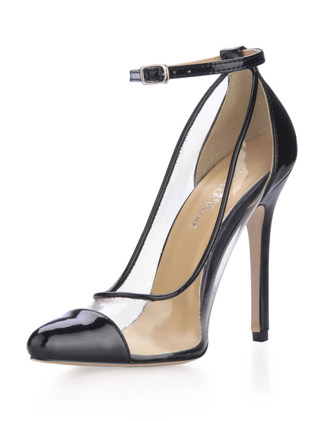 Milanoo Negro Zapatos de Tacon Alto 2020 Mujer Punta de Gorro Transparente PVC Tacon de Aguja con Tira de Tobillo