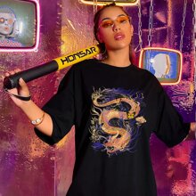 Chinese Dragon & Butterfly Print Oversized Tee