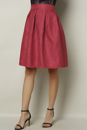 Yoins Red Vintage Jacquard Midi A-line Skirt