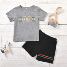 Toddler Boys Letter Graphic Tee & Track Shorts
