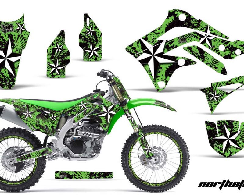 AMR Racing Graphics MX-NP-KAW-KX450-12-15-NS G Kit Dedcal Sticker Wrap + # Plates For Kawasaki KXF450 2012-2015 NORTHSTAR GREEN