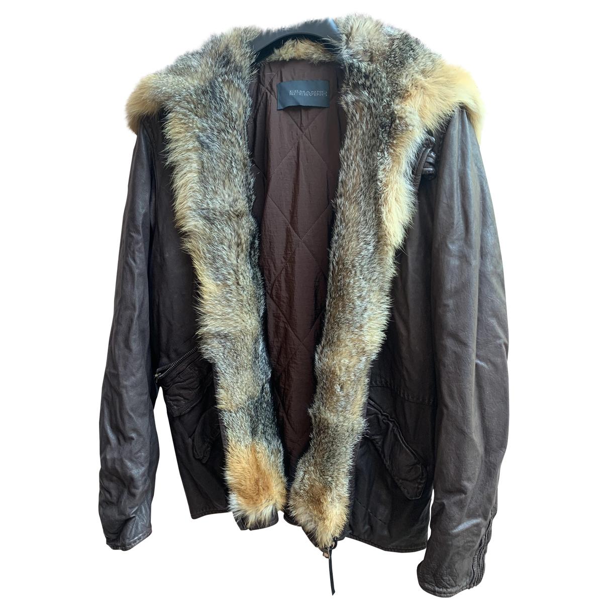 Ermanno Scervino \N Brown Leather jacket  for Men 46 IT