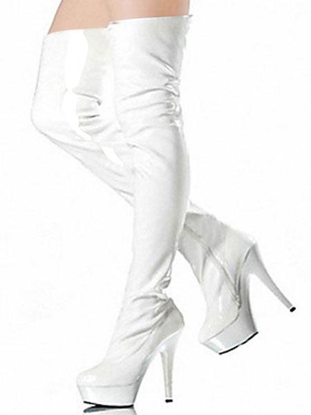 Milanoo Black Sexy Boots Women Platform Almond High Heel Over The Knee Boots Thigh High Boots