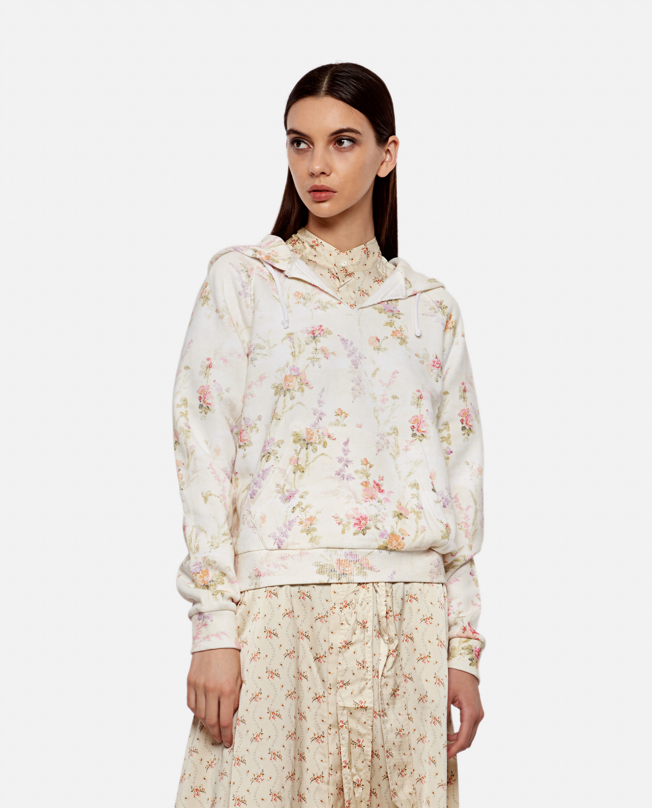 Floral cotton hoodie