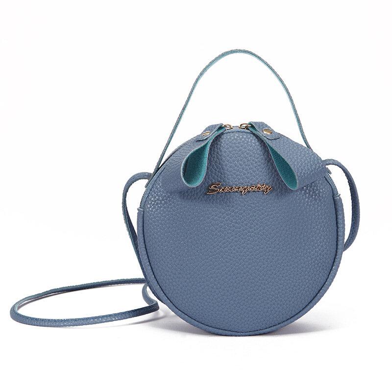 Women PU Leather Round Shape Crossbody Bag Casual Phone Purse