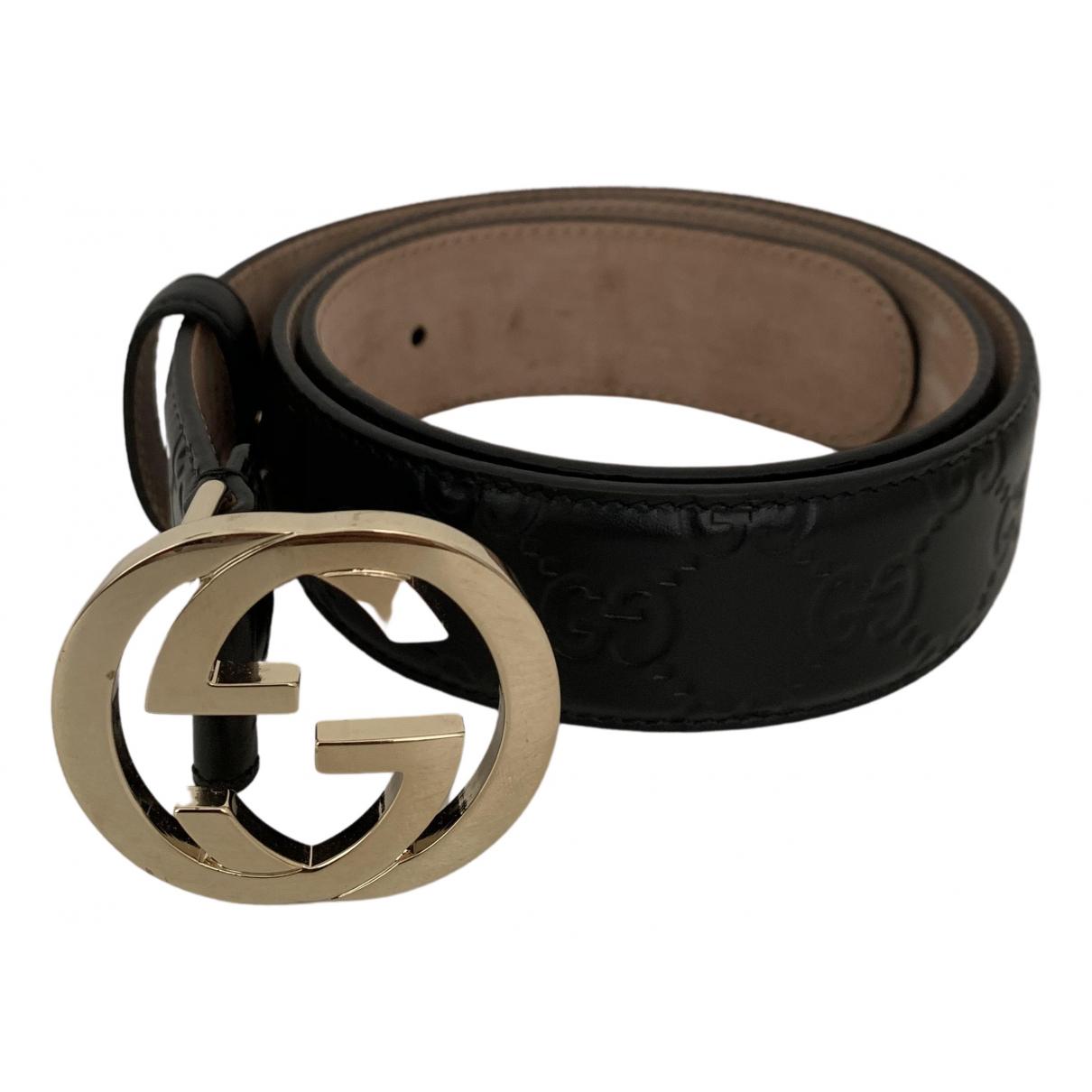 Cinturon Interlocking Buckle de Cuero Gucci