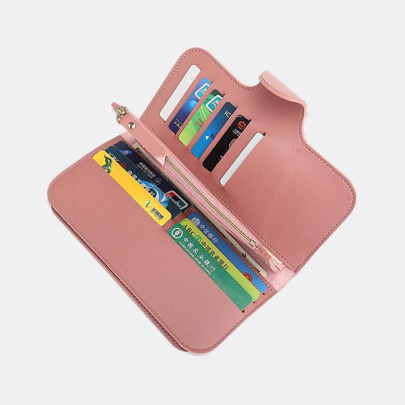 Women PU Leather Multi-card Slots Photo Card Phone Bag Money Clip Wallet Purse