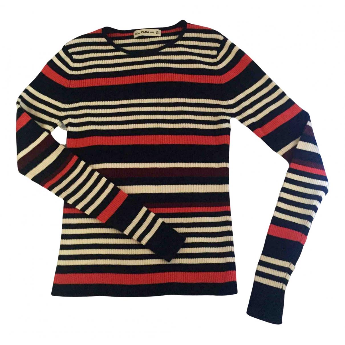 Zara - Pull   pour femme en coton - multicolore