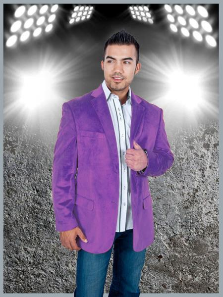 2 Button Sport Jacket Purple Velvet / Velour Sport coat Blazer