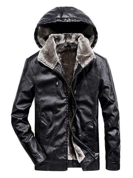Milanoo Men Leather Jacket Plush Lining Winter Jacket PU Hooded Jacket