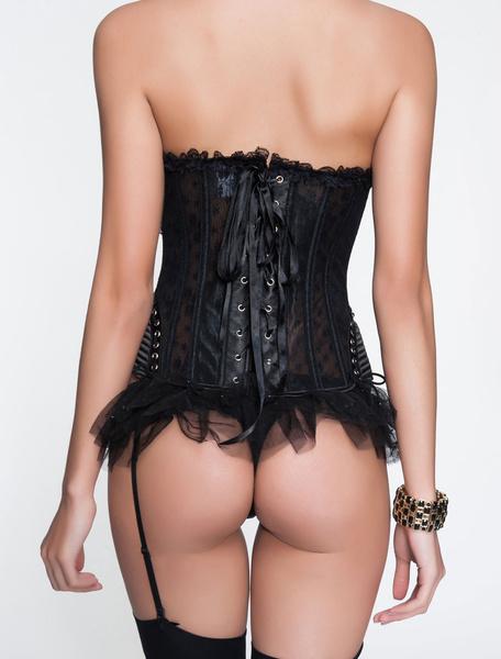 Milanoo Overbust Bridal Corsets Sheer Lace Back Vintage Wedding Corsets For Women