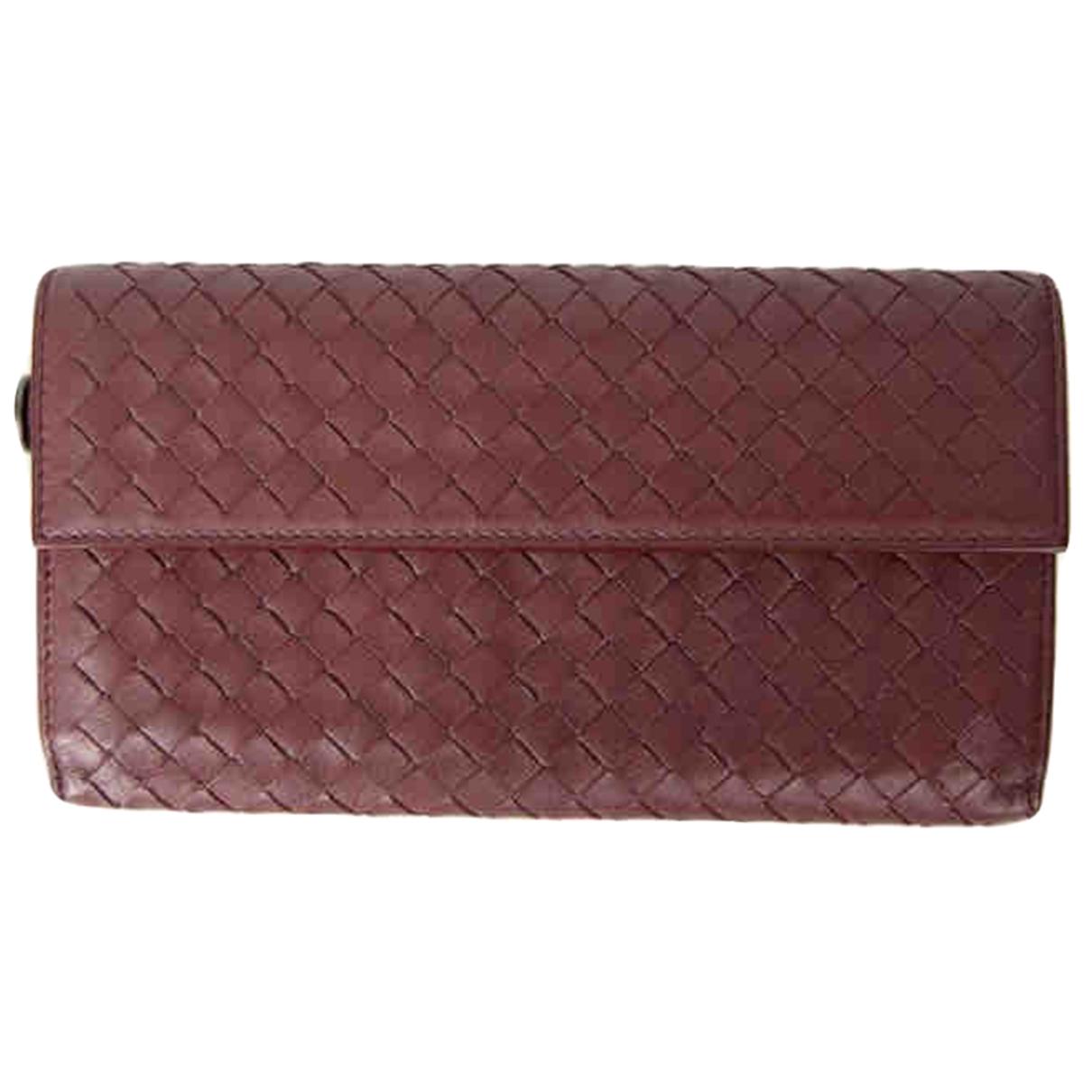 Bottega Veneta - Portefeuille   pour femme en cuir - bordeaux