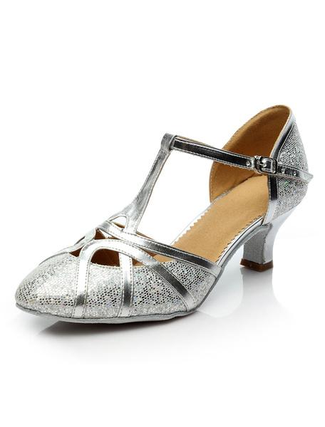 Milanoo Latin Dance Shoes Glitter Ballroom Shoes Round Toe T Type 1920s Vintage Dance Shoes