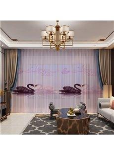 3D Printing Dark and Pink Swans Romantic Design 2 Panels Custom Sheer