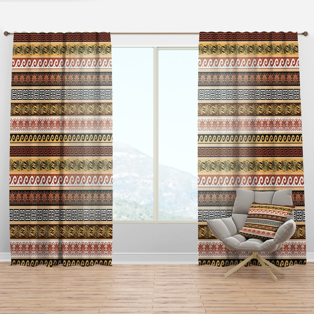 Designart 'Ancient Greek Patterns' Traditional Curtain Panel (50 in. wide x 84 in. high - 1 Panel)