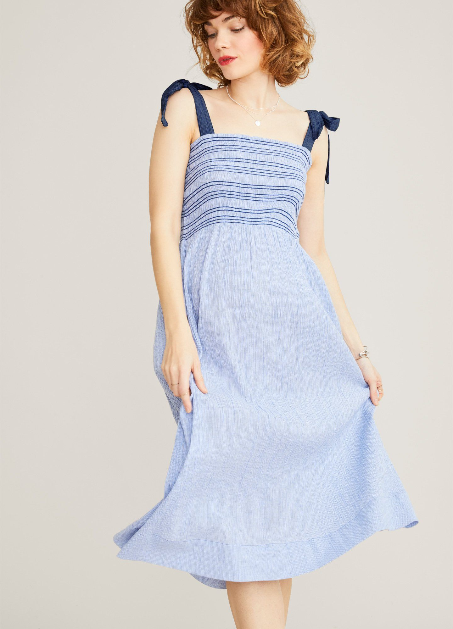 HATCH Maternity The Margaux Dress, Blue Gingham, Size 3
