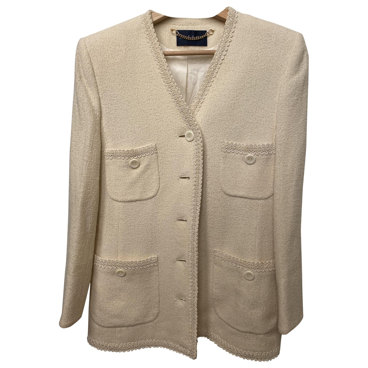Non Signé / Unsigned \N White Wool jacket for Women 32 FR