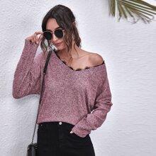 Eyelash Lace Trim Drop Shoulder Sweater