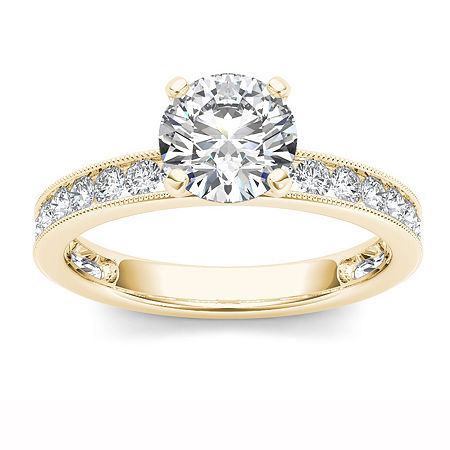 1 1/2 CT. T.W. Round White Diamond 14K Gold Engagement Ring, 8 , No Color Family
