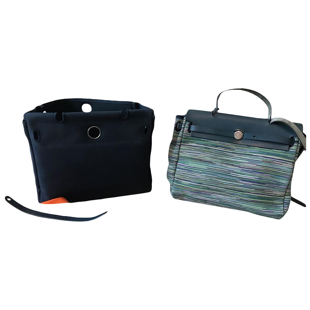 Hermes Herbag Handtasche in  Blau Veloursleder