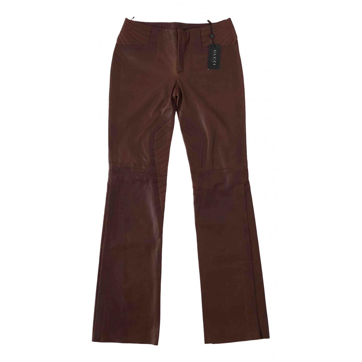 Pantalon recto de Cuero Gucci