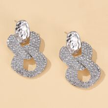 Pendientes con diseño geometrico con diamante de imitacion