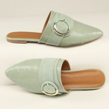 Faux Croc Leather Buckled Flat Slippers