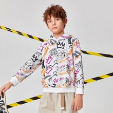 Boys Letter All Over Print Hoodie