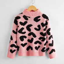 Girls Heart Pattern Stand Collar Sweater