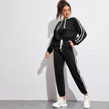 Striped Side Drawstring Hoodie With Sweatpants