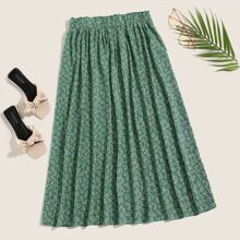 Ditsy Floral Frill Trim Flared Skirt