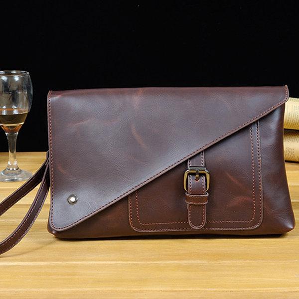 Retro Business Clutch Bag Pu Casual Big Capacity Wallet Phone Bag Purse For Men