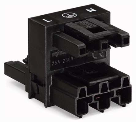 Wago 770 Series, Female, Male 3 Pole 3 Way WINSTA MINI H Distribution Connector, Cable Mount, Rated At 25A, 250 V, Black