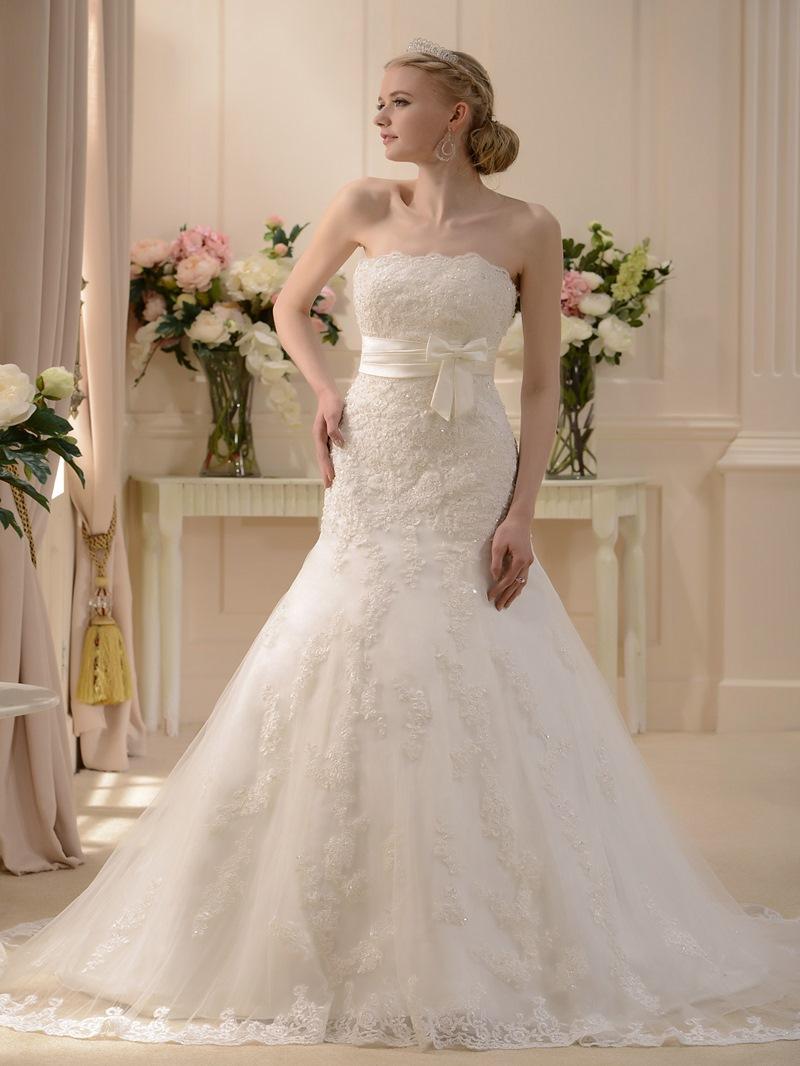 Bowknot Strapless Appliques Mermaid Wedding Dress