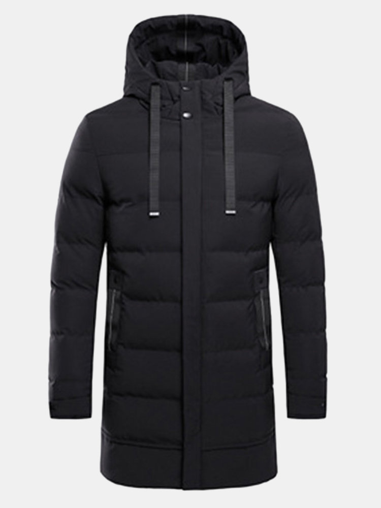 Winter Comfy Mid Length Windproof Thicken Drawstring Stitching Warm Coat