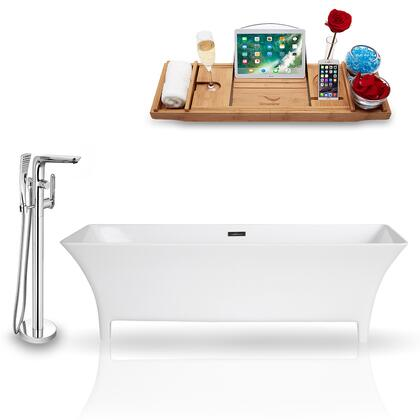 KH97-120  67'' Freestanding Tub  Faucet  and Tray