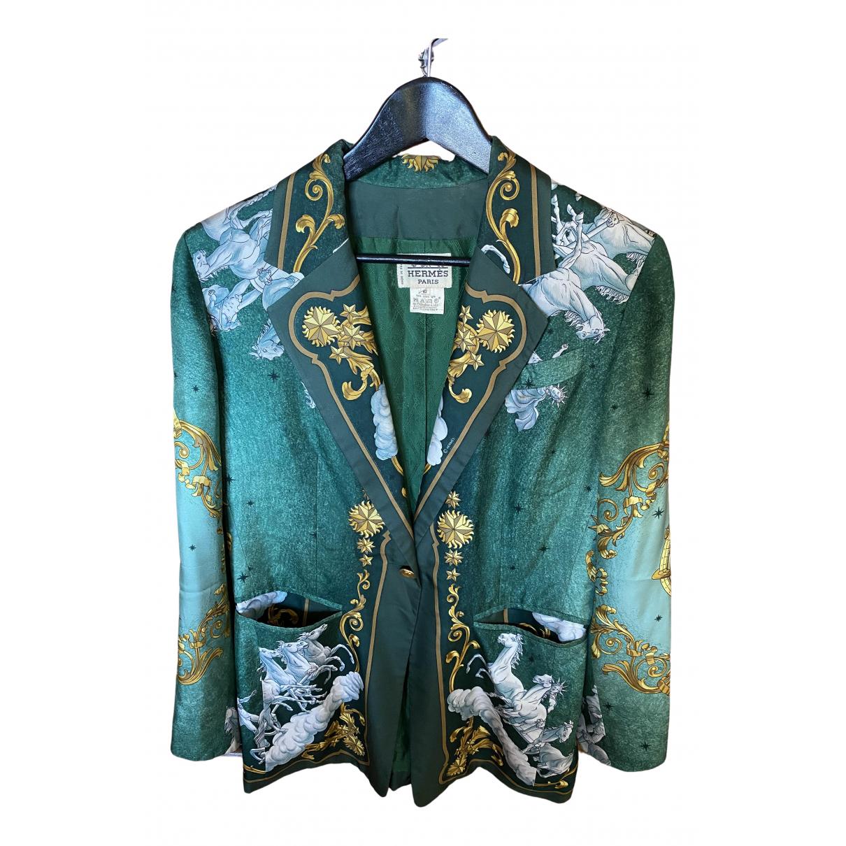 Hermes - Veste   pour femme en soie - vert