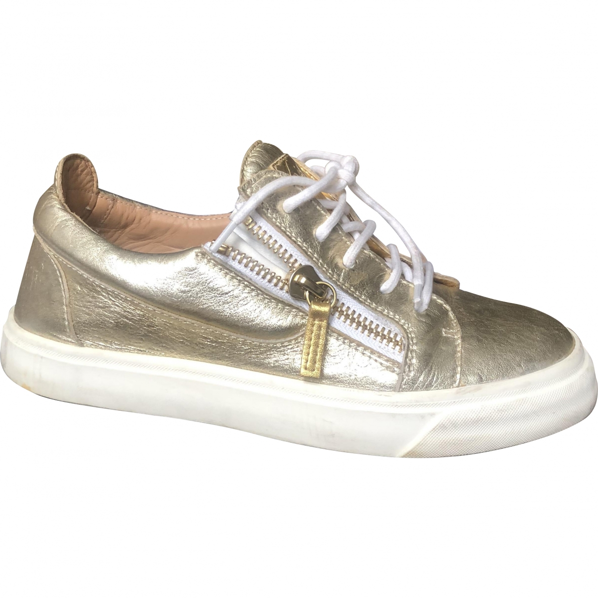 Giuseppe Zanotti Nicki Gold Leather Trainers for Women 38 EU
