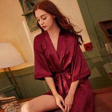 Satin Robe With Belt Without Lingerie Set