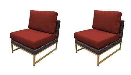 TKC049b-AS-DB-GLD-TERRACOTTA Barcelona Armless Chair 2 Per Box - Beige and Terracotta