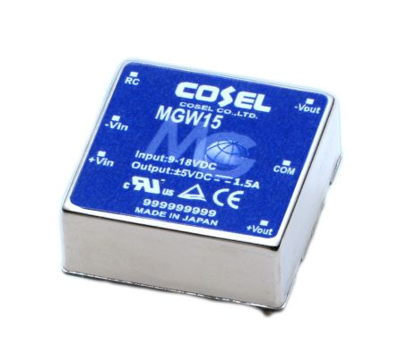 Cosel 15.6W Isolated DC-DC Converter Through Hole, Voltage in 9 → 18 V dc, Voltage out ±12V dc