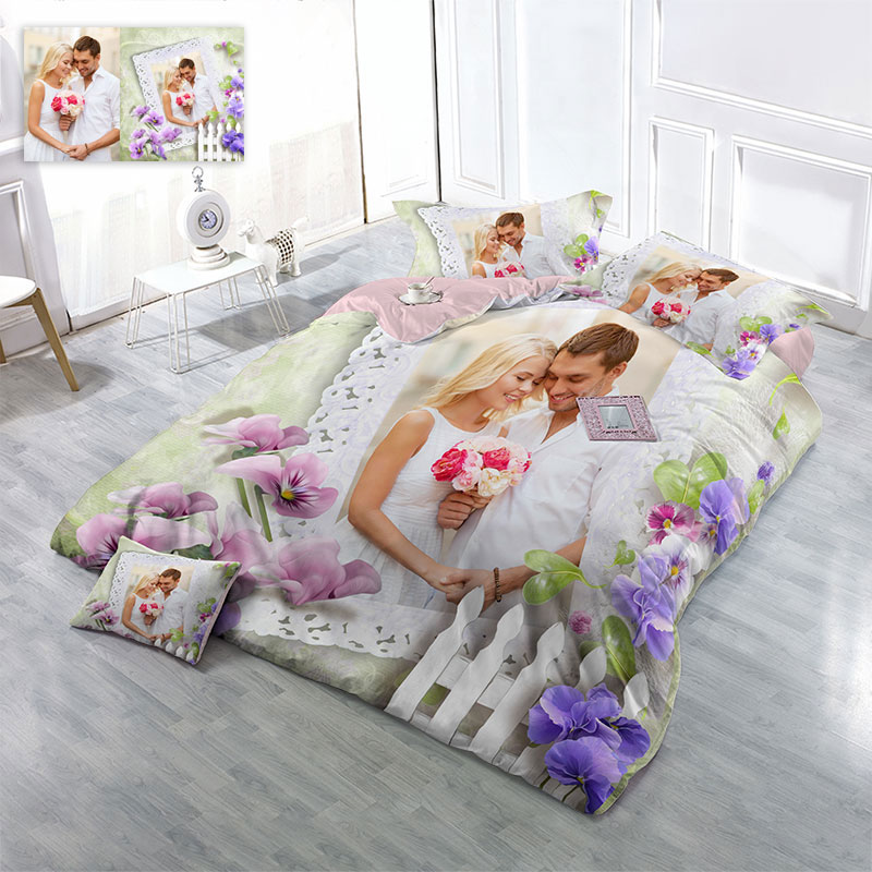 Happy Wedding Picture Custom-made Design Wear-resistant Breathable High Quality 60s Cotton 4-Piece 3D Bedding Sets